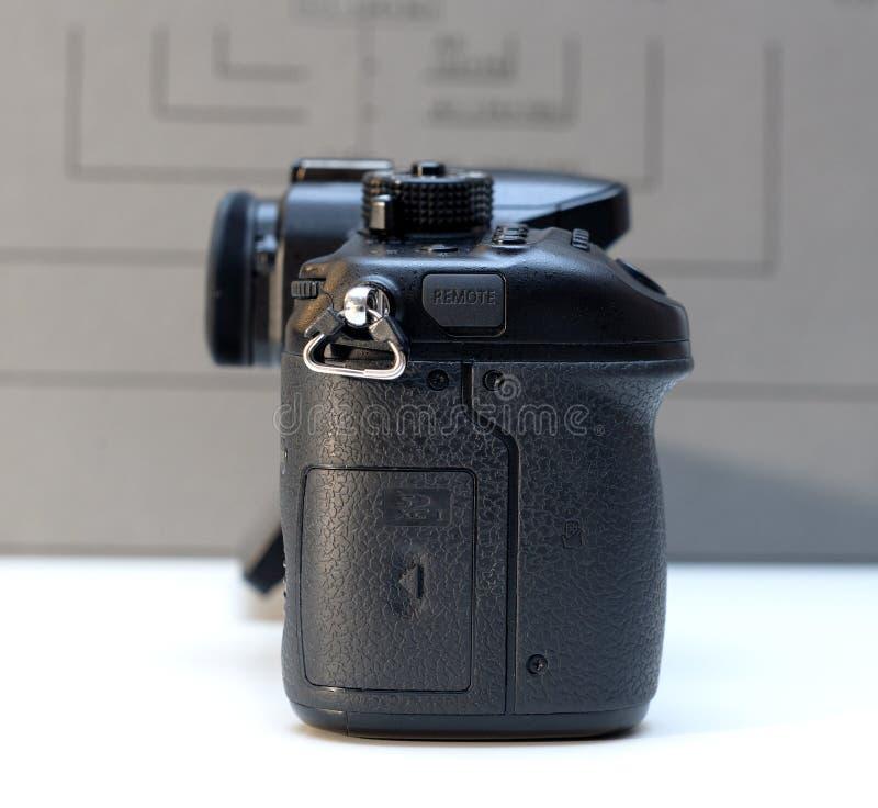Panasonic Lumix DMC-GH4 mirrorless camera. PARIS, FRANCE - FEB 13, 2017: Side Detail of the Panasonic Lumix DMC-GH4 - Micro Four Thirds System digital still and royalty free stock photography