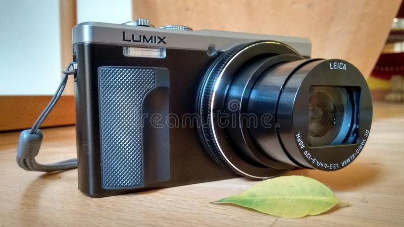 Panasonic Lumix TX-81 Camera. Closeup shot of the Panasonic Lumix TX-81 camera in a natural surrounding royalty free stock photo