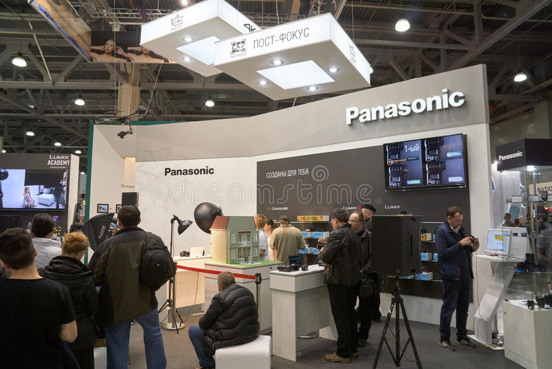 Panasonic-Stand in der Krokus-Ausstellung stockfotos