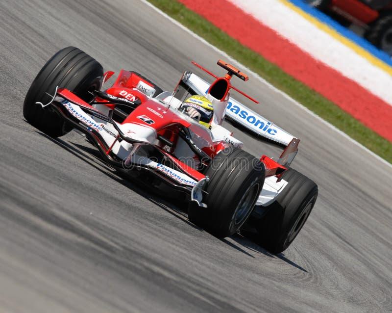 Panasonic Toyota dat TF107 Ralf Schumacher rent bij S stock afbeelding