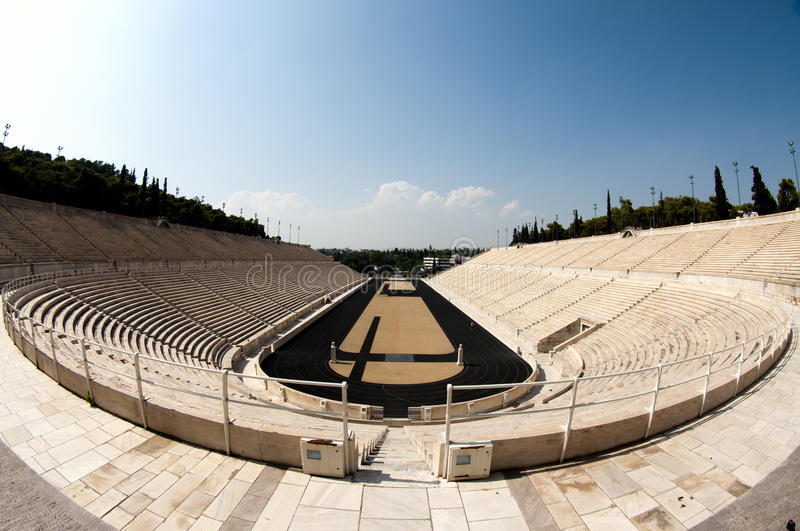Panathenian Stadion in Athen, Fischauge stockfoto