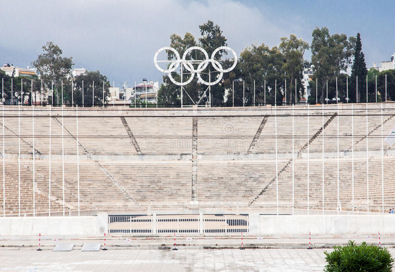 Panathinaiko体育场在雅典 库存图片
