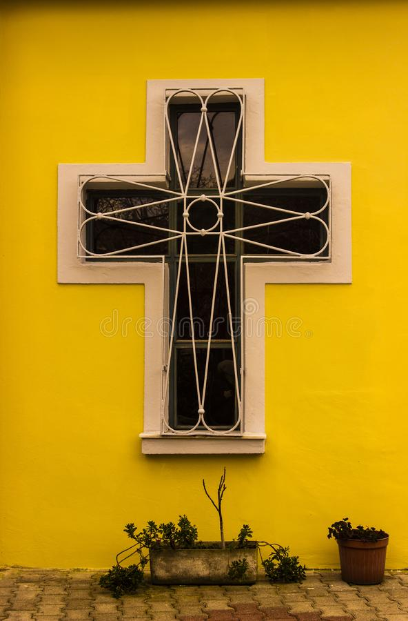 Cross Shape Church Window on the Wall. Panayia Vlaherna, Mother Meriem, The Church is located in Istanbul / Balat, Historical Heritage royalty free stock photos