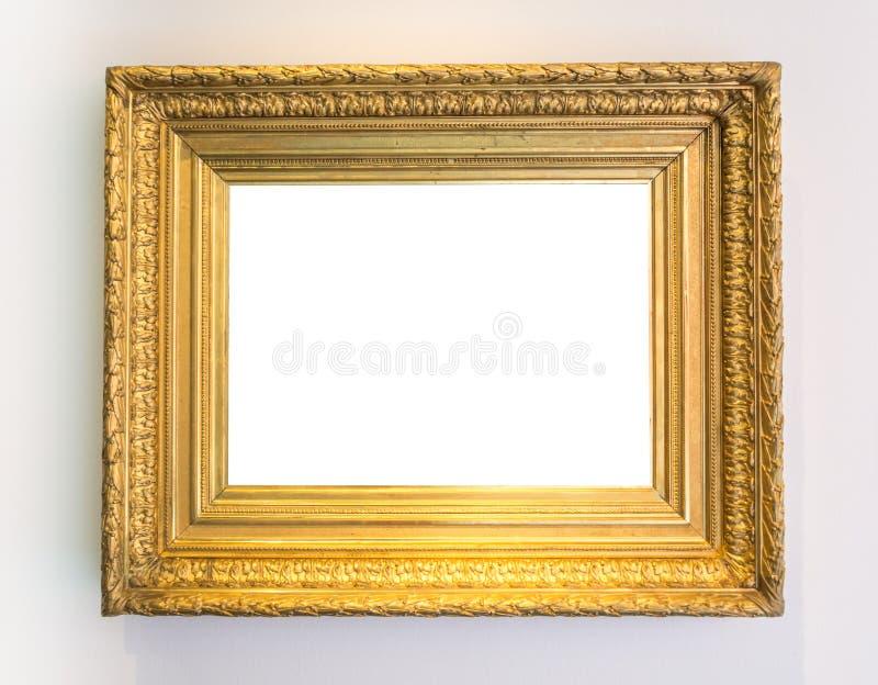 Pancadinha de Art Gallery Museum White Clipping da moldura para retrato do vintage do ouro fotos de stock royalty free