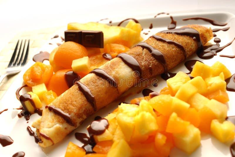 Pancake. The pancake dessert with chocolate stock photos