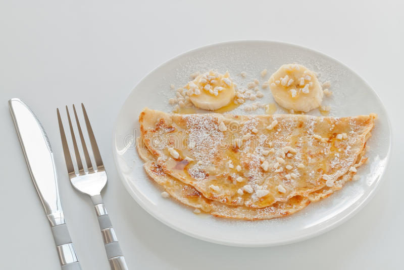Download Pancake stock image. Image of knife, white, banana, slices - 29415123
