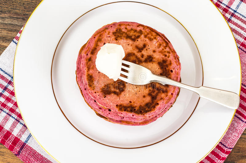 Pancake with Beets. Diet Food. Studio Photo stock photography