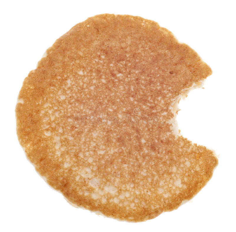 Pancake with a Bite Eaten royalty free stock image