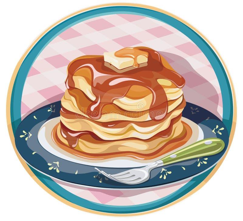 Pancake caldo con sciroppo e burro illustrazione vettoriale