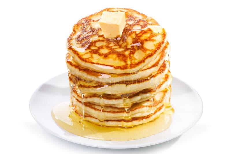 Pancake con burro e sciroppo immagine stock libera da diritti