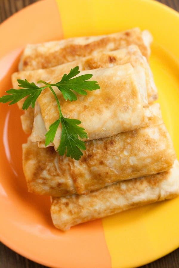 Pancake con carne immagine stock libera da diritti