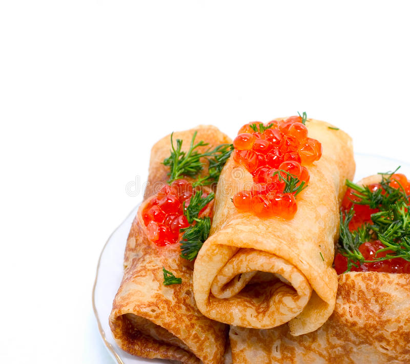 Pancake con il caviale immagini stock