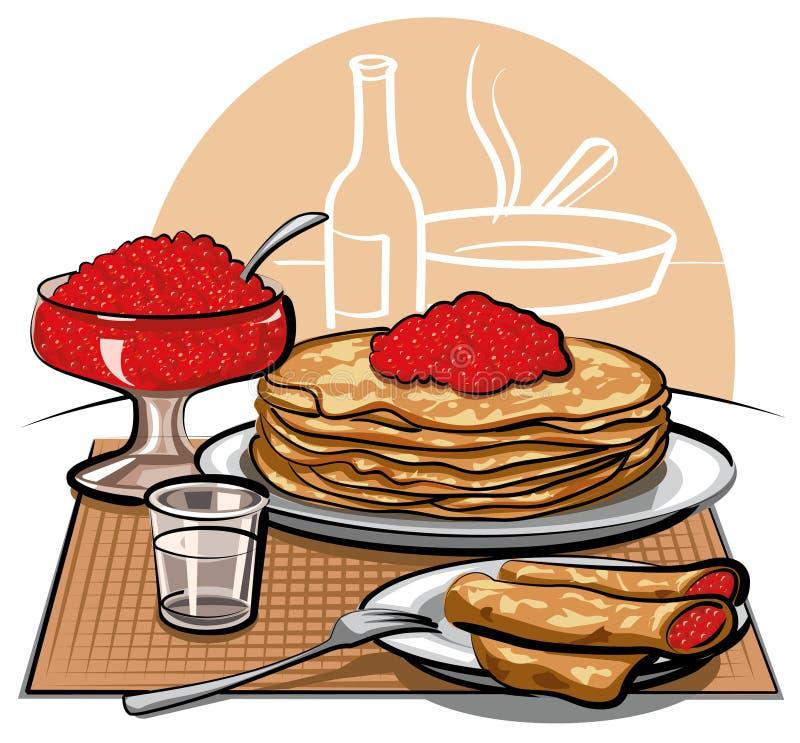 Pancake con il caviale rosso royalty illustrazione gratis