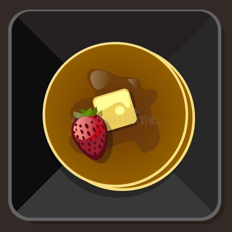 Pancake con il piatto della fragola del burro dello sciroppo royalty illustrazione gratis