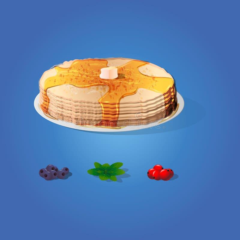 Pancake con una fetta di burro, di mirtilli, di foglie di menta e di insieme dell'uva passa Settimana russa del pancake di celebr royalty illustrazione gratis