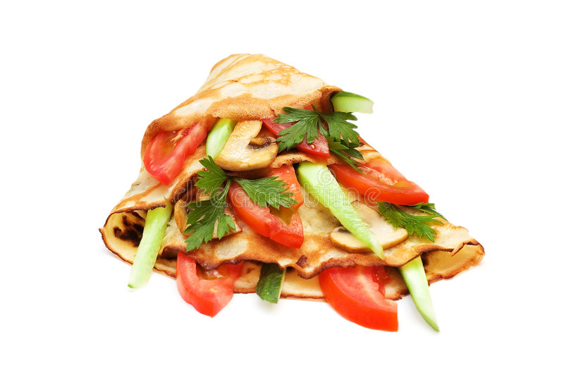 Pancake With Cucumbers Royalty Free Stock Photography