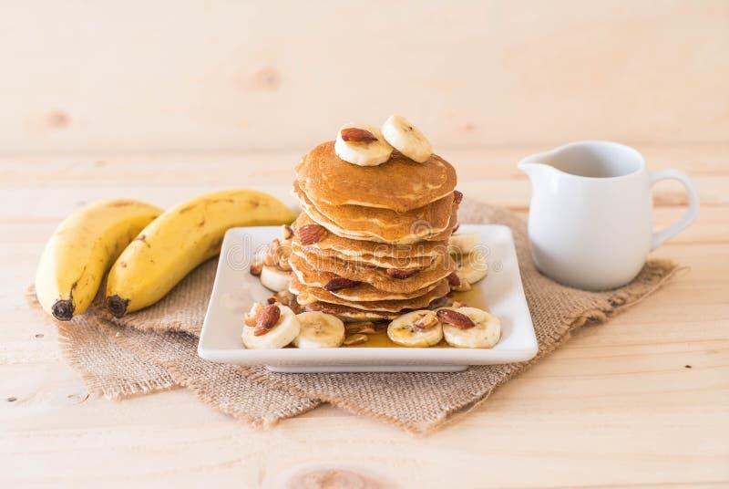 pancake della banana della mandorla fotografia stock libera da diritti