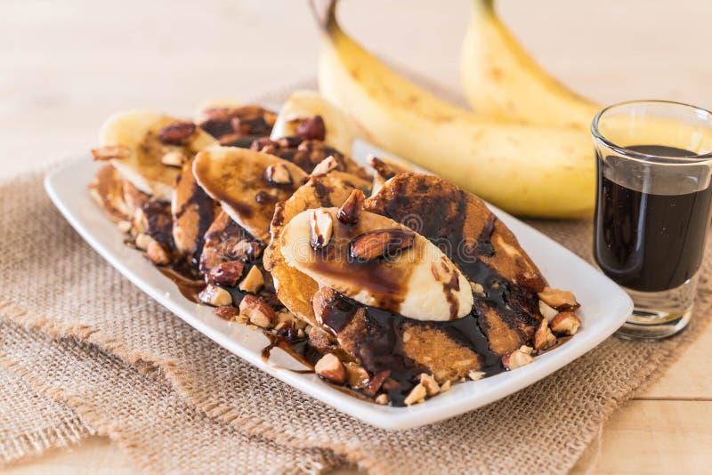 pancake della banana della mandorla fotografia stock