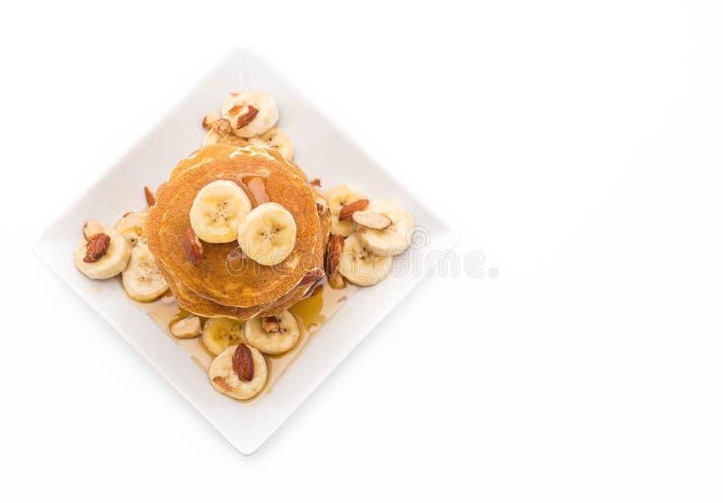 pancake della banana della mandorla fotografie stock libere da diritti