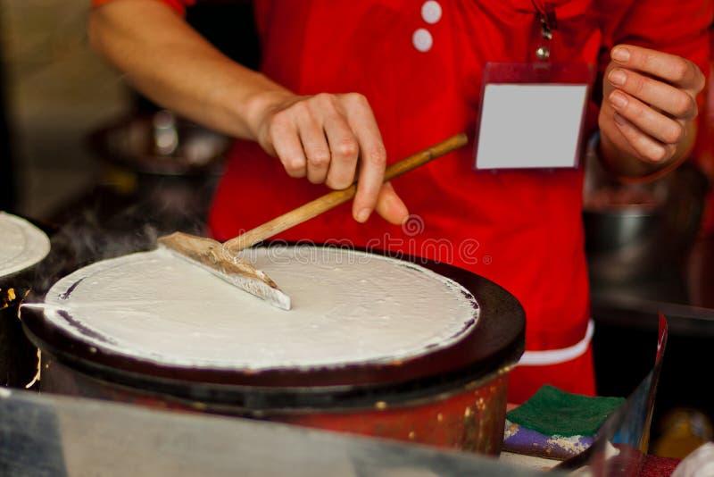 Pancake della via (distintivo in bianco) fotografia stock