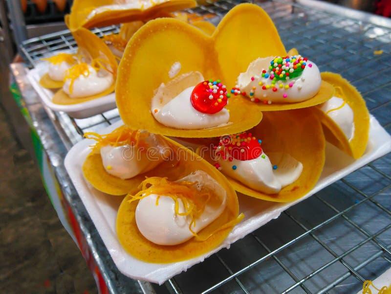 Pancake dessert made of flour, cream, and chocolate. royalty free stock image