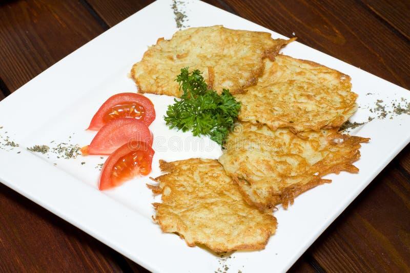 Pancake di patata fritti fotografia stock