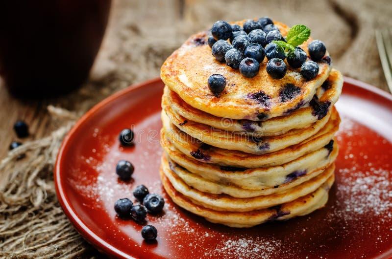 Pancake di ricotta del mirtillo fotografie stock