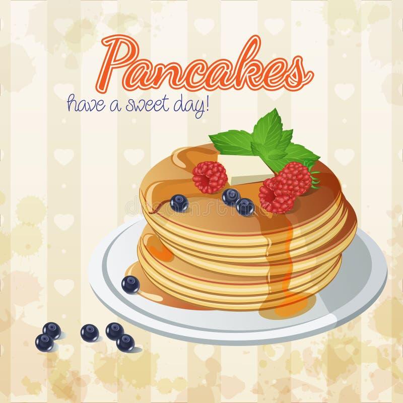 Pancake di vettore Miele dolci Burro annata signboard illustrazione di stock