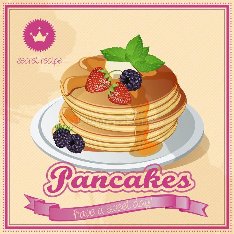Pancake di vettore Miele dolci Burro annata signboard illustrazione vettoriale