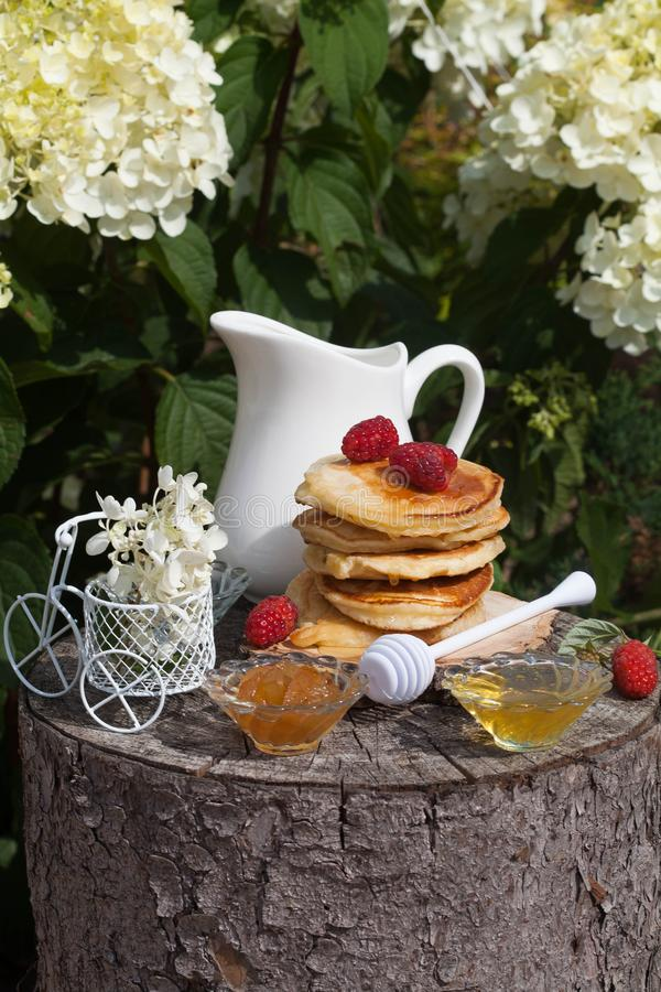 Pancake dolci per la prima colazione in giardino soleggiato fotografia stock libera da diritti