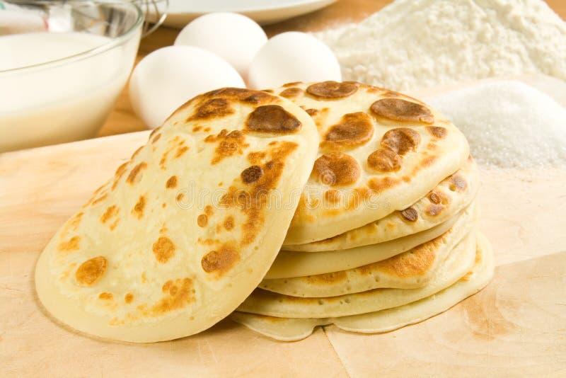Pancake ed ingredienti fotografie stock