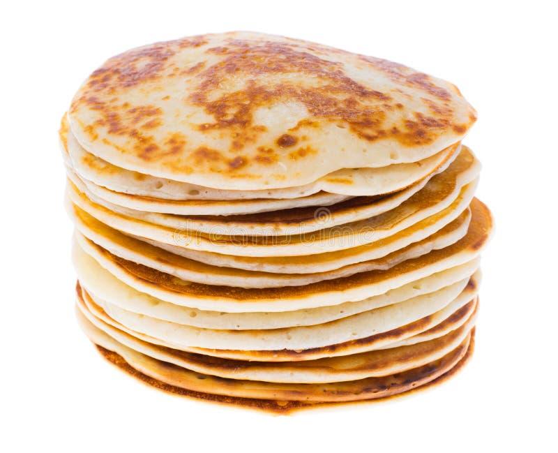 Pancake fertili e saporiti isolati su bianco fotografia stock