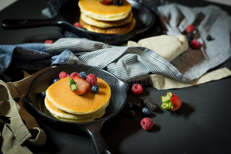 Pancake with fresh fruit and berry stack on pan. Fot breakfast bakery,selective focus stock photo