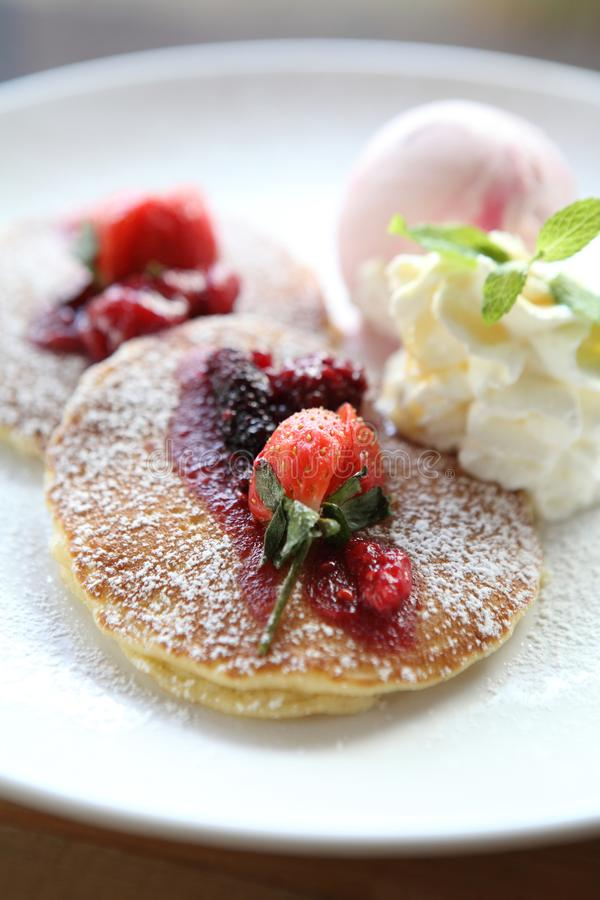 Pancake with icecream. In close up royalty free stock photo