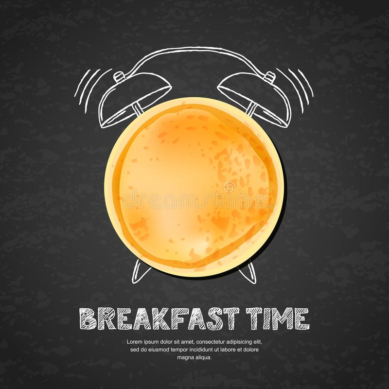 Pancake, letters and hand drawn watercolor alarm clock on black board slate background. Vector design for breakfast menu. Tasty pancake, letters and hand drawn stock illustration