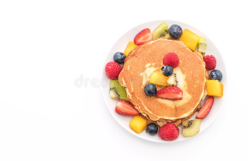 pancake with mix fruits (strawberry, blueberries, raspberries, m stock image
