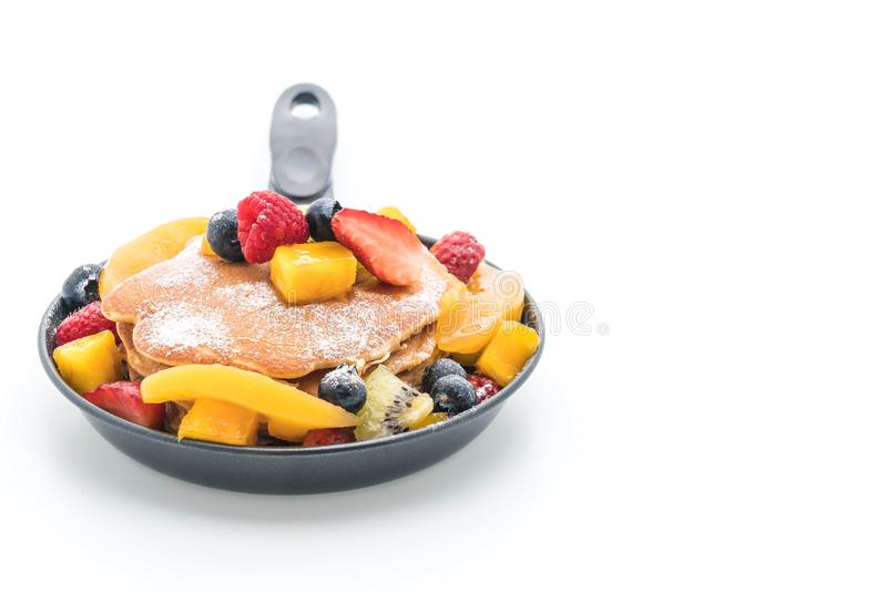 Pancake with mix fruits (strawberry, blueberries, raspberries, m stock photos