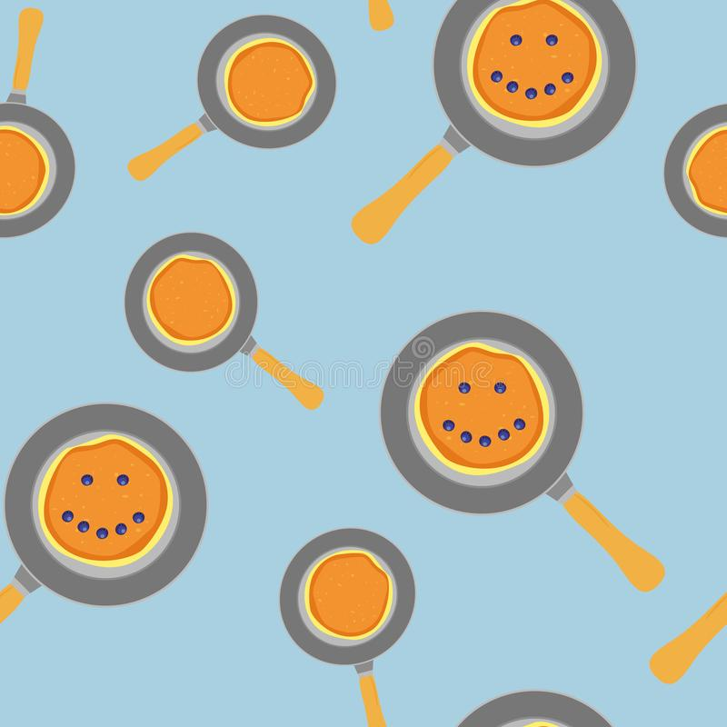 Pancake pattern consisting of home heap homemade hot cakes on frying pan, crepe sweet food. Eat tasty pancakes with berries smile. Vintage blue background royalty free illustration