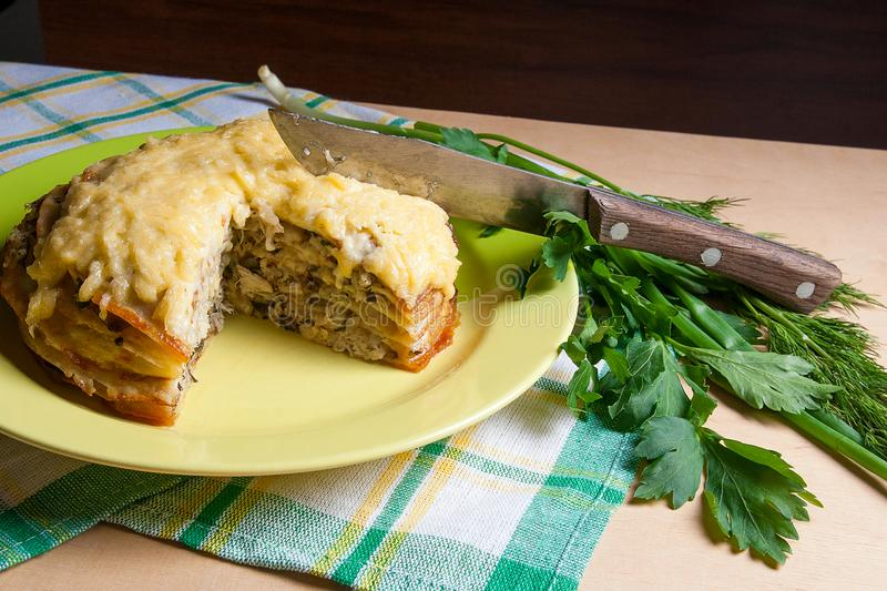 Pancake pie with mushrooms and chicken meat baked with cheese on green plate. View of cutted pancake cake on green plate with herbs dill green onion ... & View Of Cutted Pancakes Pie With Mushrooms And Chicken Meat. Tra ...