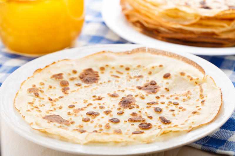 Pancake on a plate stock images