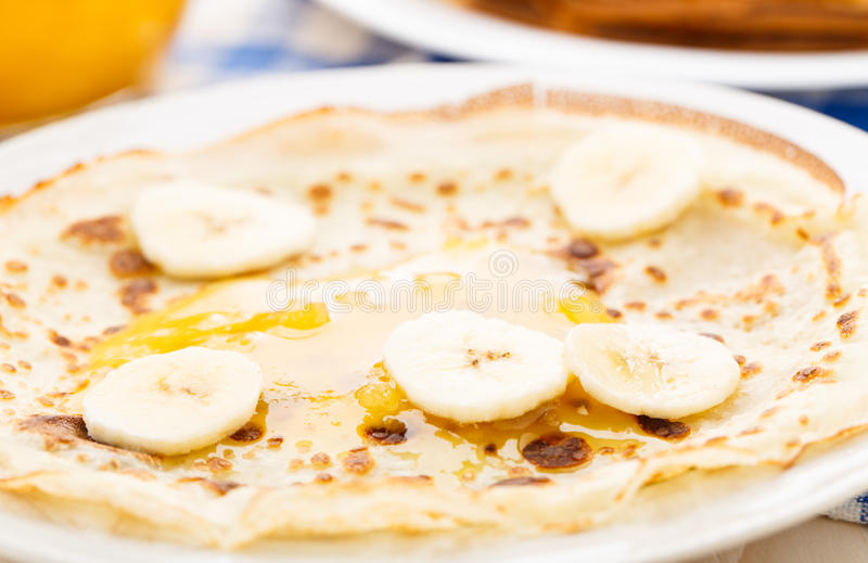 Pancake on a plate stock photo