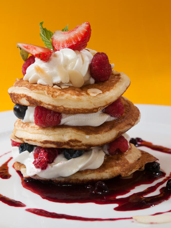 Pancake With Raspberries Stock Photography - Image: 34528412