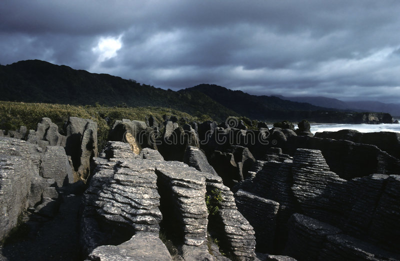 Pancake rocks. Paparoa National Park, New Zealand stock images