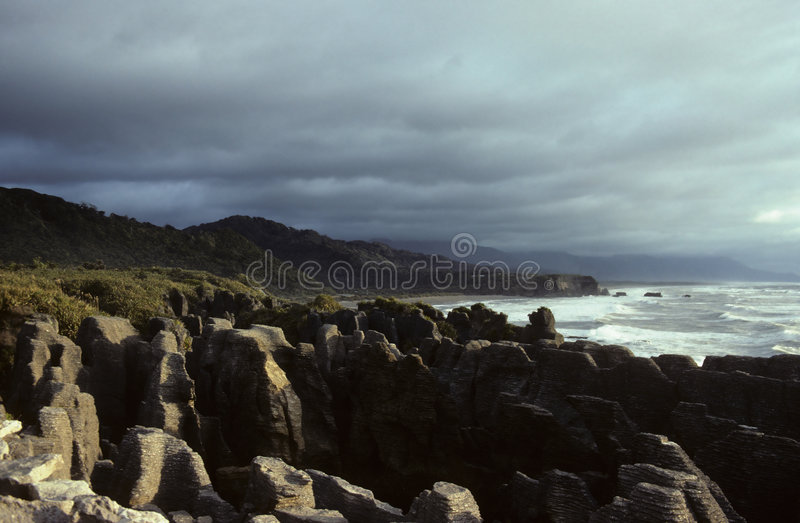 Pancake rocks. Paparoa National Park, New Zealand stock image