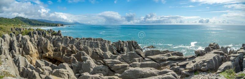 Pancake Rocks Panorama royalty free stock images
