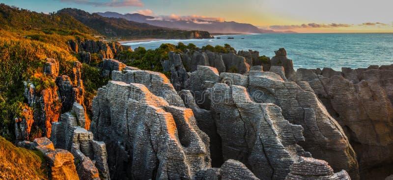 Pancake Rocks. Punakaiki, Paparoa National Park, South Island, New Zealand royalty free stock photography