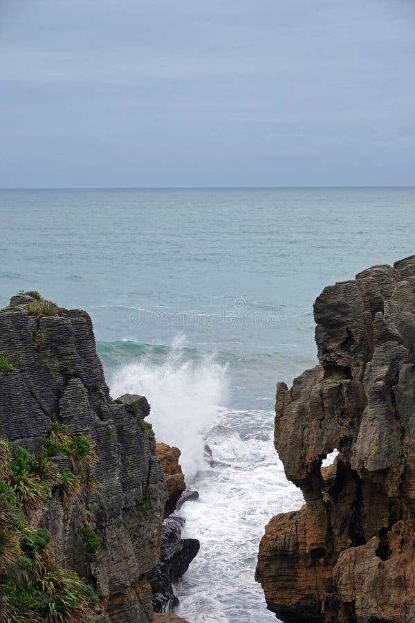 Punakaki elephant rock and Tasman Sea on West Coast of New Zealand stock photos