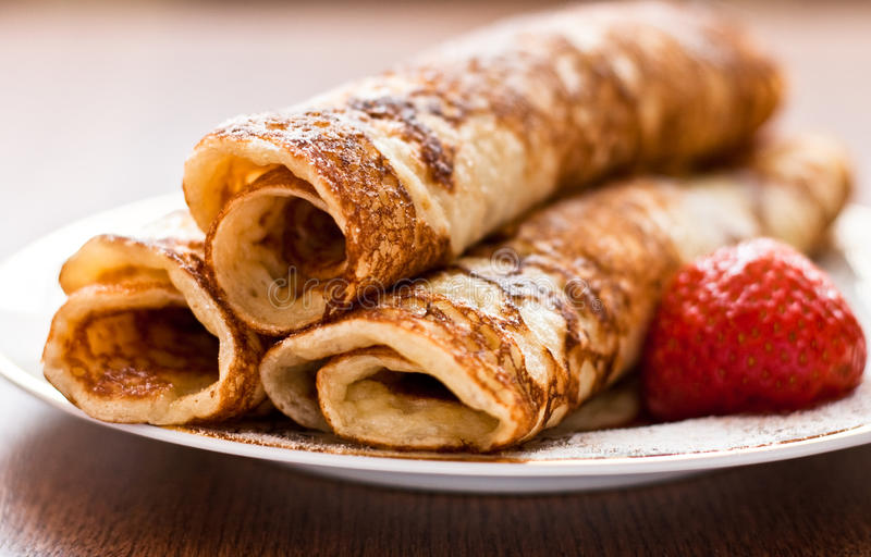 Pancake rotolati fotografia stock