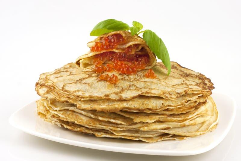 Pancake con il caviale fotografie stock