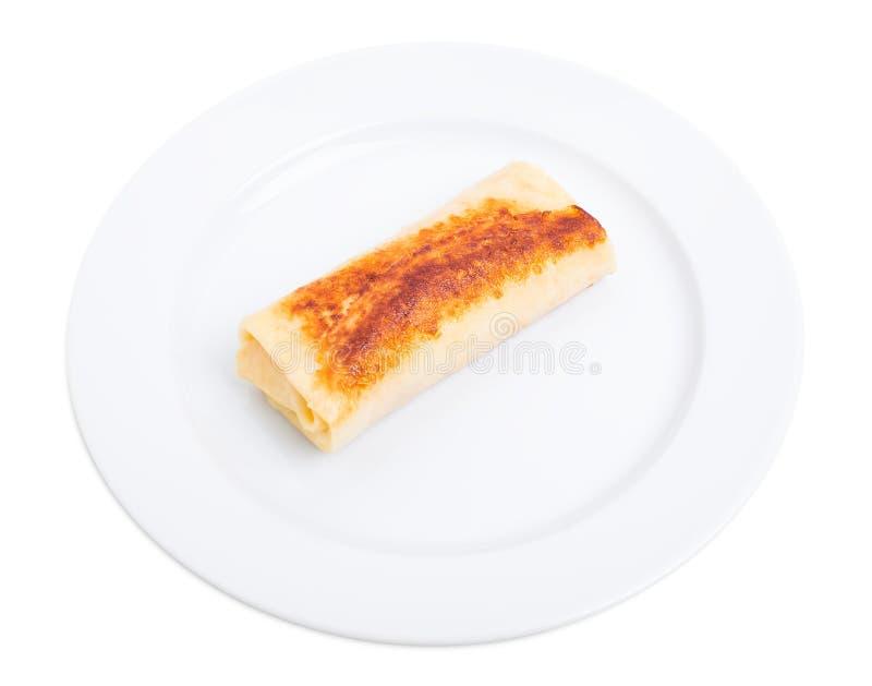 Pancake russo farcito con formaggio cremoso immagine stock libera da diritti